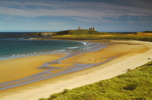 Embleton Beach leading to Dunstanburgh Castle, Northumberland
